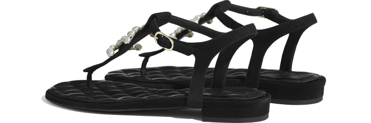 image 3 - Sandals - Kid Suede & Jewelry - Black