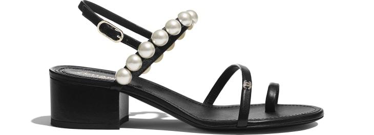 image 1 - Sandals - Lambskin & Pearls - Black