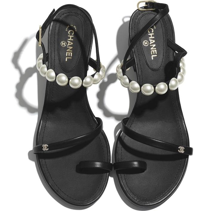 image 4 - Sandals - Lambskin & Pearls - Black