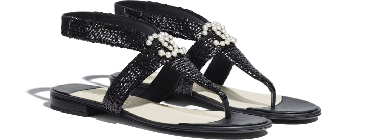image 2 - Sandals - Lambskin & Sequins - Black