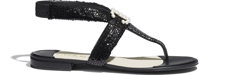 image 1 - Sandals - Lambskin & Sequins - Black