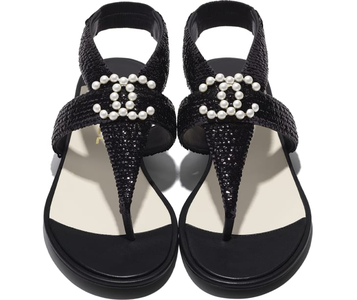 image 4 - Sandals - Lambskin & Sequins - Black