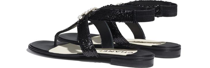 image 3 - Sandals - Lambskin & Sequins - Black