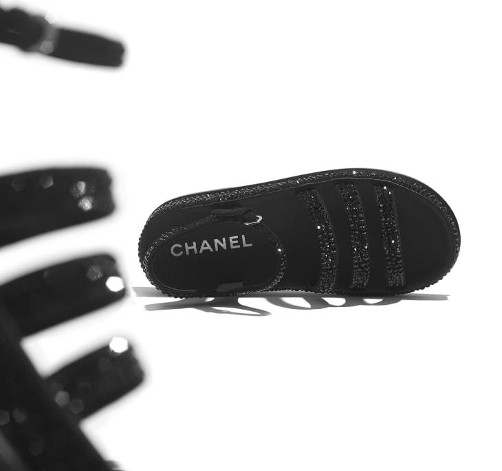 image 4 - Sandals - Suede Goatskin & Strass - Black