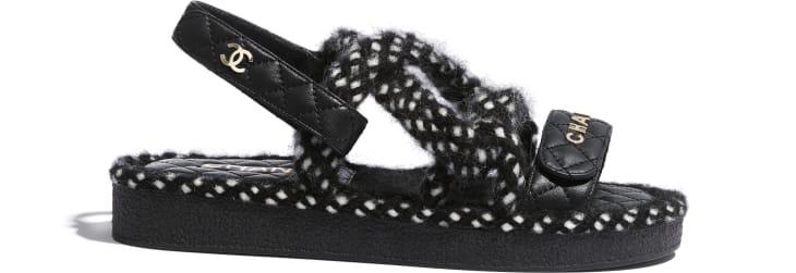 image 1 - Sandals - Cord & Lambskin - Black & White
