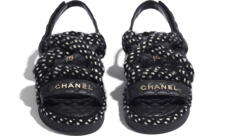 image 2 - Sandals - Cord & Lambskin - Black & White