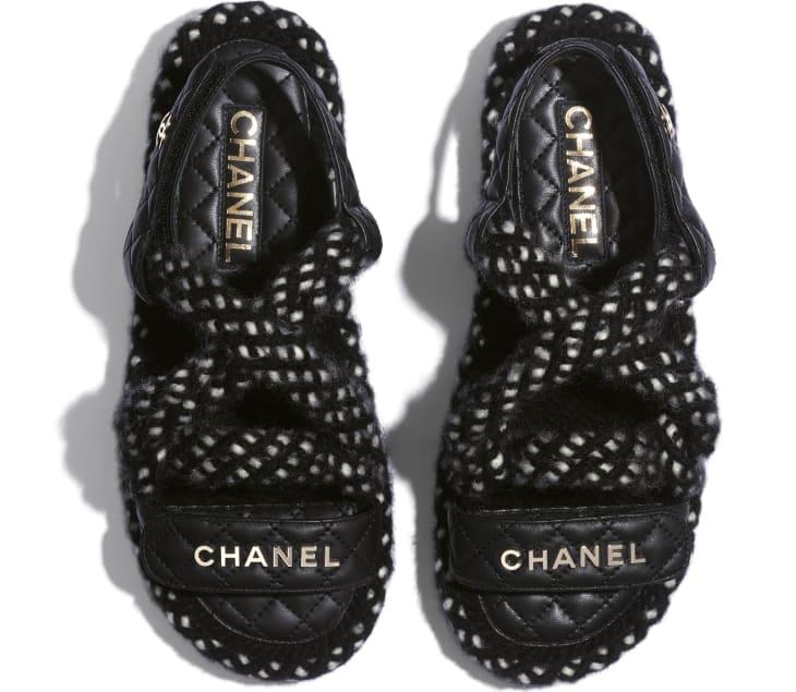 image 3 - Sandals - Cord & Lambskin - Black & White