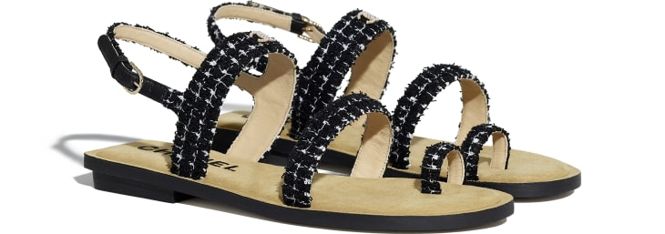 image 2 - Sandals - Tweed - Black & White