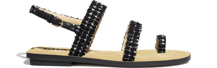image 1 - サンダル - ツイード - ブラック & ホワイト