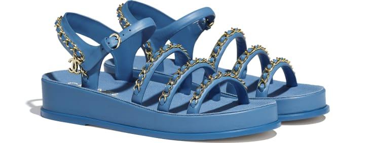 image 2 - Sandals - Calfskin - Blue