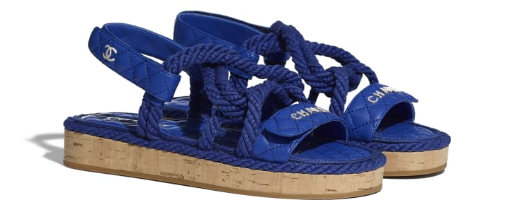 image 2 - Sandals - Cord & Lambskin - Blue