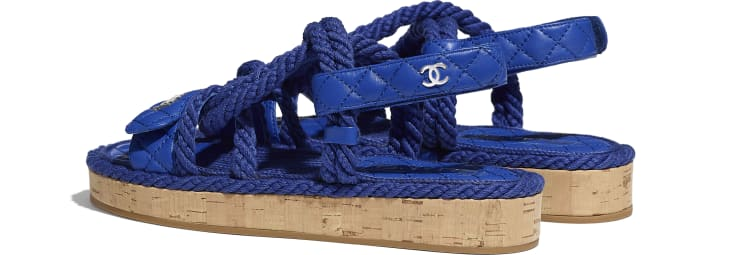 image 3 - Sandals - Cord & Lambskin - Blue