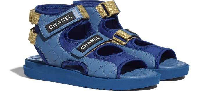 image 2 - Sandals - Goatskin, Fabric & TPU - Blue, Dark Blue & Black