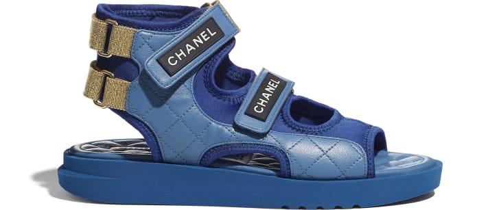 image 1 - Sandals - Goatskin, Fabric & TPU - Blue, Dark Blue & Black
