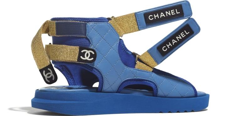 image 4 - Sandals - Goatskin, Fabric & TPU - Blue, Dark Blue & Black