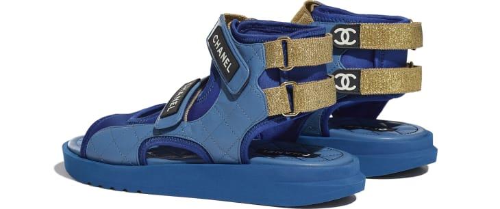 image 3 - Sandals - Goatskin, Fabric & TPU - Blue, Dark Blue & Black