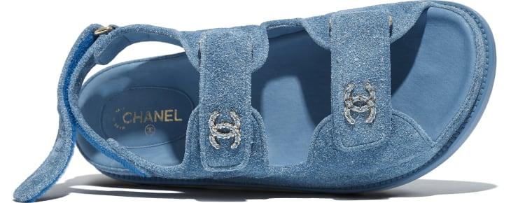image 4 - Sandálias - Couro De Novilho Suede - Azul