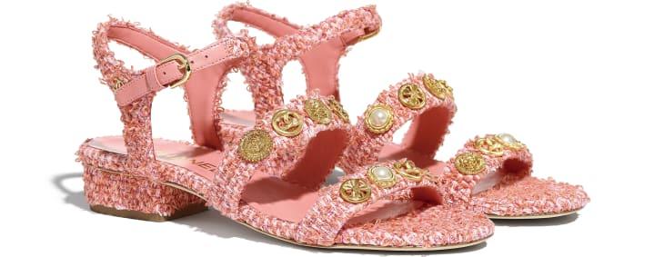 image 2 - Sandálias - Cotton Tweed & Jewelry - Coral & Rosa