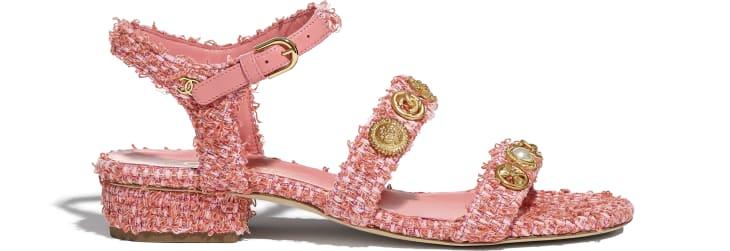 image 1 - Sandálias - Cotton Tweed & Jewelry - Coral & Rosa