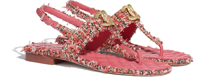 image 2 - Sandals - Tweed - Coral, Red & Pink