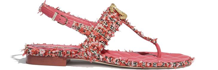 image 1 - Sandals - Tweed - Coral, Red & Pink