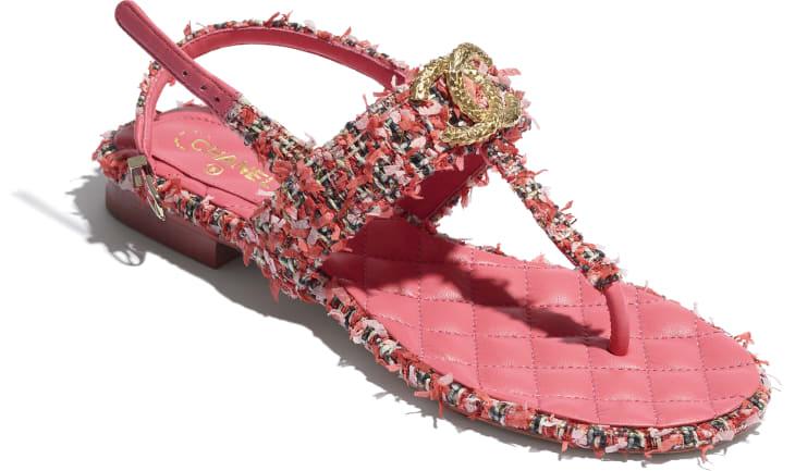 image 4 - Sandals - Tweed - Coral, Red & Pink