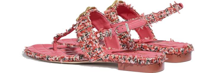 image 3 - Sandals - Tweed - Coral, Red & Pink
