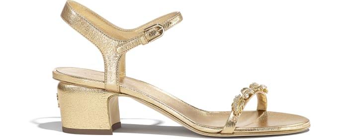 image 1 - Sandals - Laminated Goatskin & Jewelry  - Gold