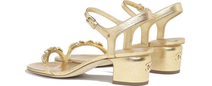 image 3 - Sandals - Laminated Goatskin & Jewelry  - Gold
