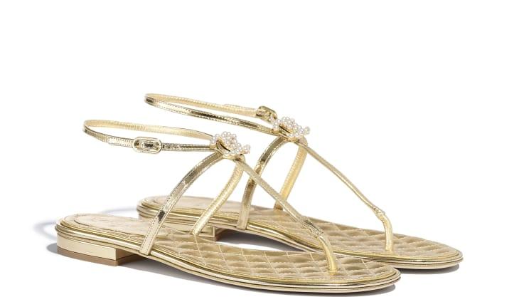 image 2 - Sandálias - Couro de Cordeiro Laminado & Joia - Dourado