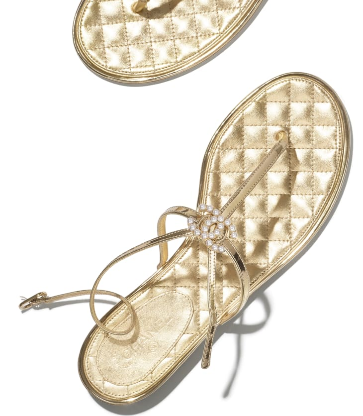 image 4 - Sandales - Agneau lamine & bijou - Doré