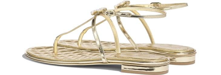 image 3 - Sandálias - Couro de Cordeiro Laminado & Joia - Dourado