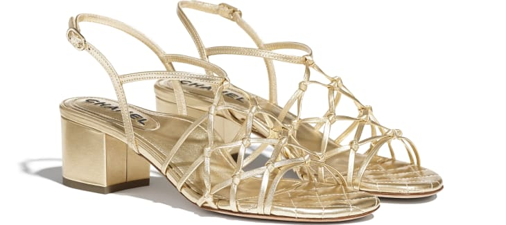 image 2 - Sandals - Laminated Lambskin - Gold