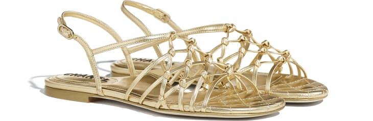 image 2 - Sandals - Laminated Lambskin - Gold