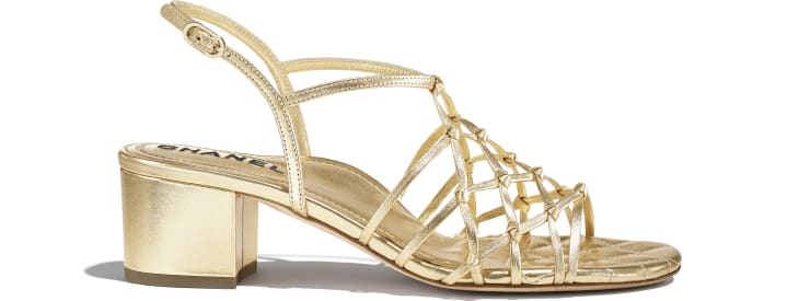 image 1 - Sandals - Laminated Lambskin - Gold