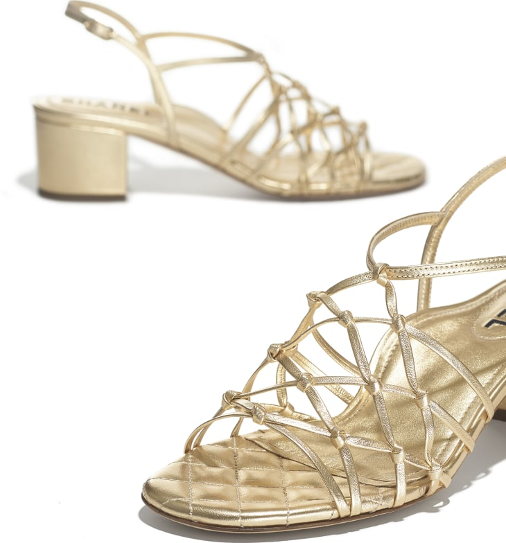 image 4 - Sandals - Laminated Lambskin - Gold
