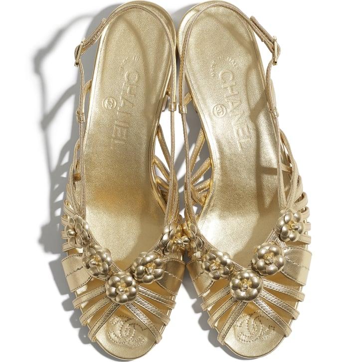 image 4 - Sandals - Laminated Lambskin - Gold