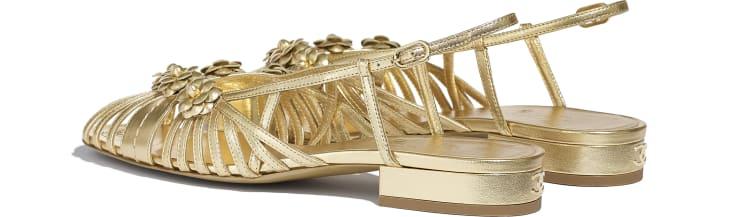 image 3 - Sandálias - Couro De Cordeiro Laminado - Dourado