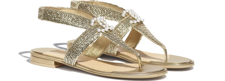 image 2 - Sandals - Laminated Lambskin & Sequins - Gold