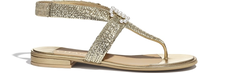image 1 - Sandals - Laminated Lambskin & Sequins - Gold