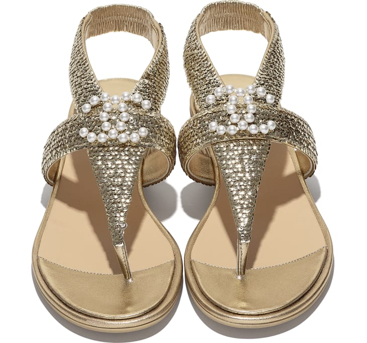 image 4 - Sandals - Laminated Lambskin & Sequins - Gold