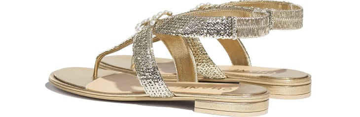 image 3 - Sandals - Laminated Lambskin & Sequins - Gold