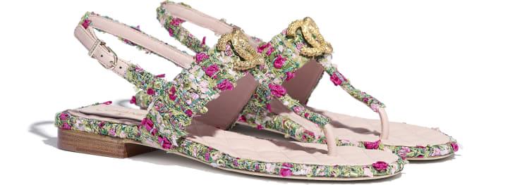 image 2 - Sandals - Tweed - Green, Pink & White