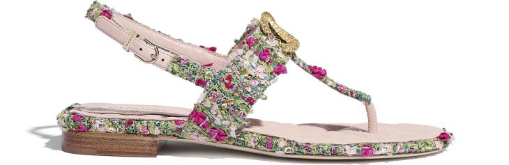 image 1 - Sandals - Tweed - Green, Pink & White