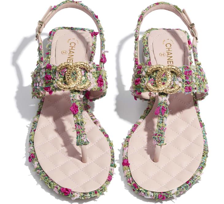 image 4 - Sandals - Tweed - Green, Pink & White