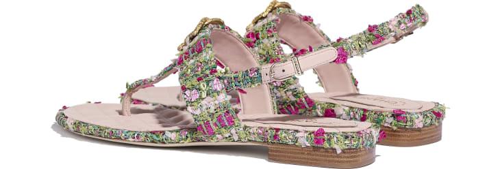 image 3 - Sandals - Tweed - Green, Pink & White