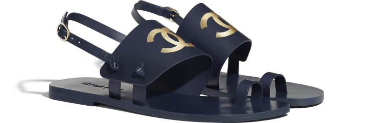 image 2 - Sandals - Goatskin - Navy Blue