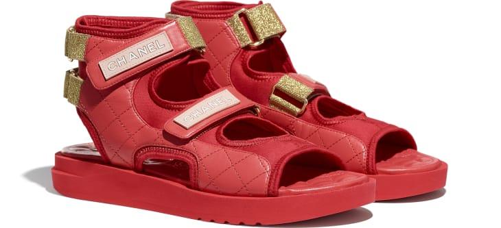 image 2 - Sandálias - Goatskin, Fabric & TPU - Red, Dark Red & Light Pink