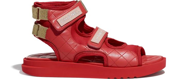 image 1 - Sandálias - Goatskin, Fabric & TPU - Red, Dark Red & Light Pink