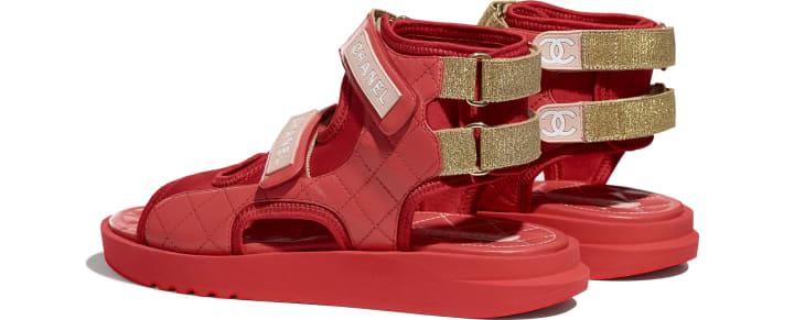image 3 - Sandálias - Goatskin, Fabric & TPU - Red, Dark Red & Light Pink